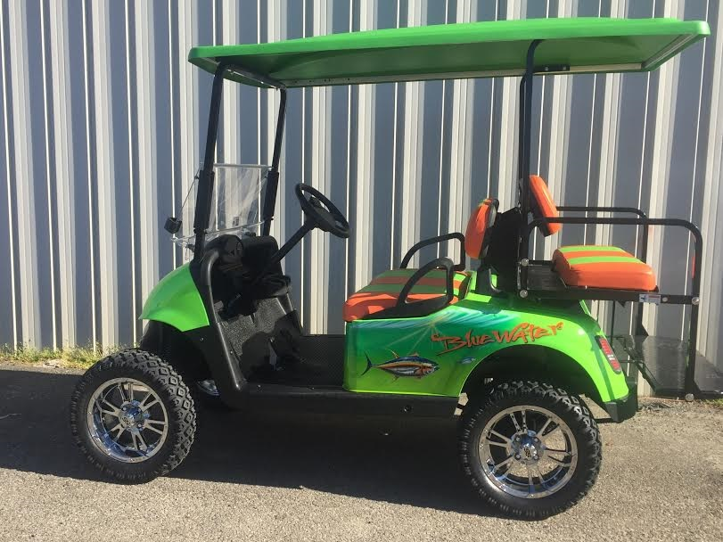 Custom Golf Carts | Golf Cars of Hickory on golf cart graphics, golf cart flame paint, golf cart paint colors,
