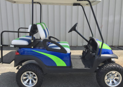Blue and green golf cart
