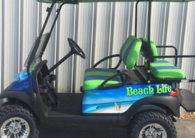 Green blue golf cart